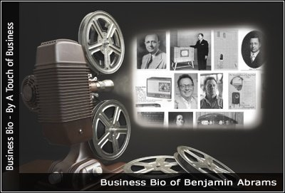 Image of a projector displaying images related to Benjamin Abrams