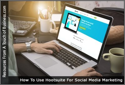 Image of a computer screen displaying the Hootsuite websites